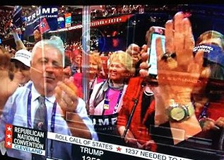 A screen capture of the Tennessee delegation during Tuesday night's roll call that nominated Donald Trump
