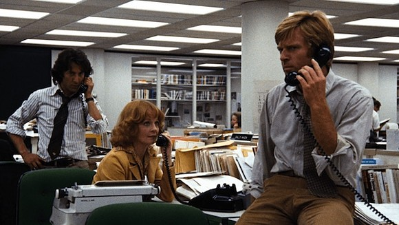 Dustin Hoffman, Penny Fuller, and Robert Redford in All The President's Men