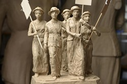 clay maquette of suffrage statue