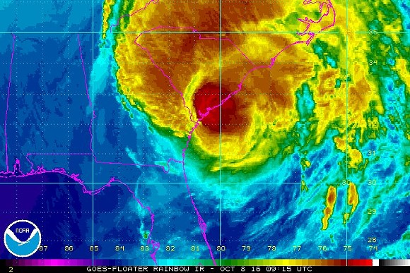 Hurricane Matthews as it slams the East Coast last week. - NATIONAL OCEANIC AND ATMOSPHERIC ADMISNTRATION