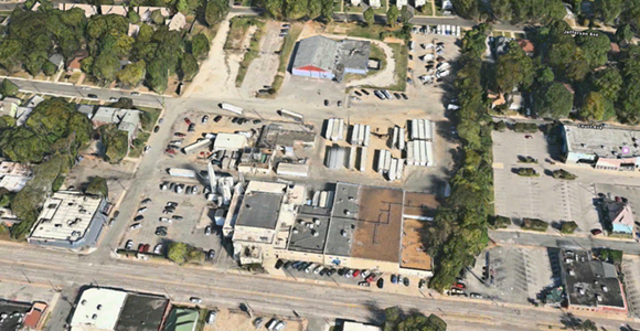 This aerial shot of the Prairie Farms Dairy site shows the production facility on the south side of the property, and the now mostly vacant north side. - APPLE MAPS