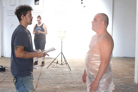 Director Madsen Minax (left) on the set of Kairos Dirt and the Errant Vacuum