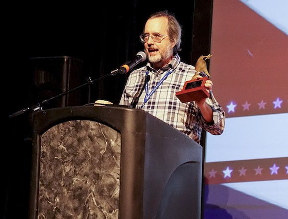Film critic John Beifuss accepts his Vision Award at the Indie Memphis Film Festival's awards ceremony on Saturday, November 5 2016 at the Circuit Playhouse. - BREEZY LUCIA