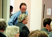 Appellant Scott Banbury talks with Memphis Mayor Jim Strickland before hearing. - JB