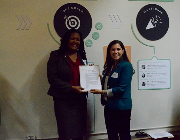 "Ilyssa Meyer of Etsy joins Joann Massey as Memphis is declared an ""Official Etsy Maker City"". - MICAELA WATTS"