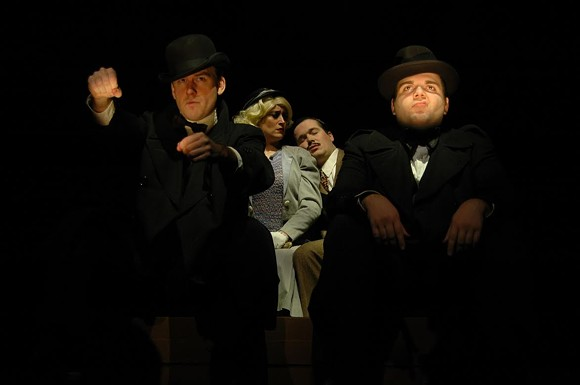 (l to r) Gabe Beutel-Gunn, Lena Wallace Black, Kinon Kiplinger and Chase Ring perform in the comedic adaptation of the Alfred Hitchcock movie The 39 Steps at Theatre Memphis, January 20 - February 5