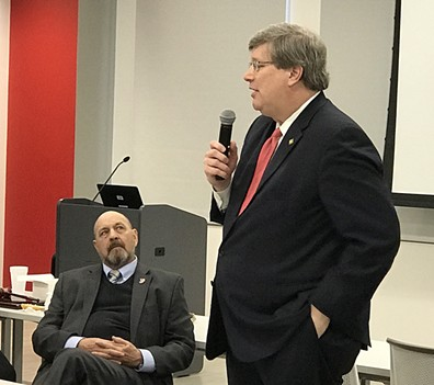 Mayor Jim Strickland previews possible de-annexation plan for Shelby County legislators, as state Rep. Ron Lollar, delegation chair, listens. - JB