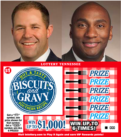 Holt (left). Harris (right). A 'Biscuits and Gravy' game ticket from the Tennessee Lottery (below).