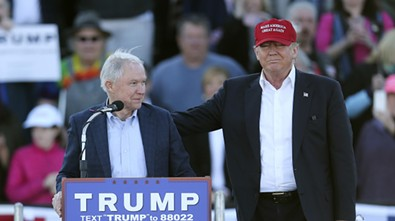 Sessions endorsing Trump in Alabama, a day after their get-together in Millington on February 27, 2016