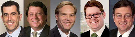 Possible appointees to local federal judgeships are (l o r): Lang Wiseman, Mark Norris, Tommy Parker, Stephen Vaden, and Jonathan Skrmetti.