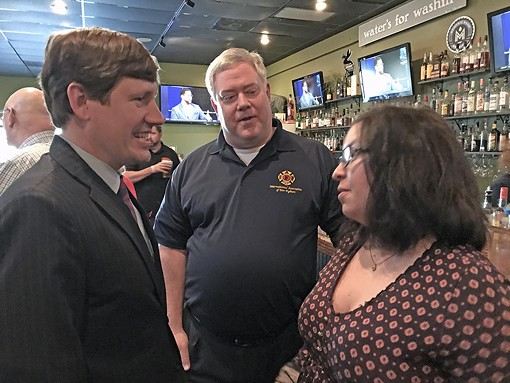 Getting an early start for the 2018 Shelby County Schools board race is Liz Rincon, candidate for Position 1. Here she speaks with two well-wishers — state Senator Brian Kelsey (l) and Fire Fighters Union official Joe Norman — at her Thursday night fundraiser at Sweet Grass. - JB
