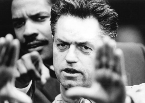 Jonathan Demme (1944-2017) with Denzel Washington on the set of Philadelphia.