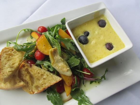 Savory blueberry goat cheese flan at Strano! Sicilian Kitchen & Bar - MICHAEL DONAHUE