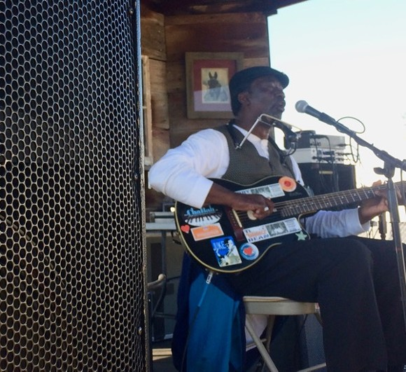 """Terry """"Harmonica"""" Bean at the Blues Tent."""