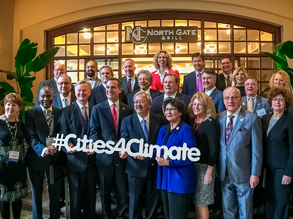 "A gathering of some of the ""Climate Mayors."" - TWITTER"