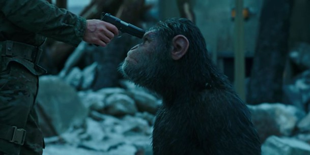 Andy Serkis as Caesar, leader of the apes.