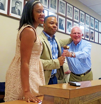 Clarissa Shaw (l) and David Cocke, co-chairs of the ad hoc committee that saw to the reorganization of the Shelby County Democratic Party, presented the revived party's gavel to newly elected party chair Corey Strong on Saturday. - JB