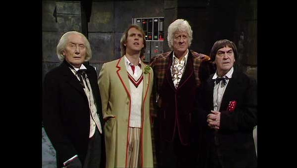 """A still from """"The Five Doctors"""" featuring four Doctors, one of whom is an imposter. It's just a disaster, really."""