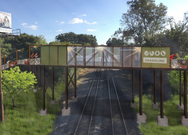 Rendering of possible bridge design over active railroad - CITY OF MEMPHIS