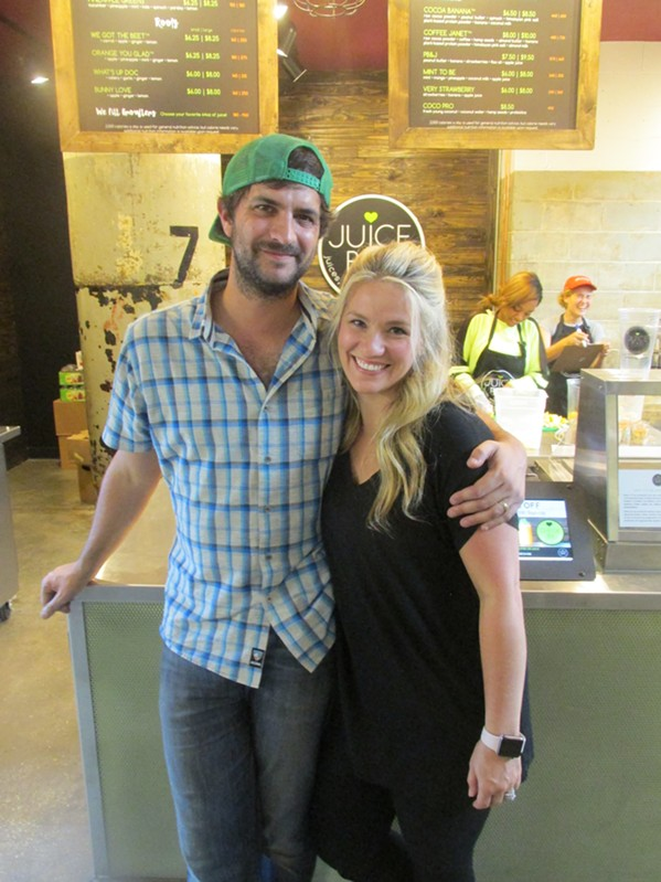 Rebekah and Scott Tashie at the I Love Juice Bar soft opening. - MICHAEL DONAHUE