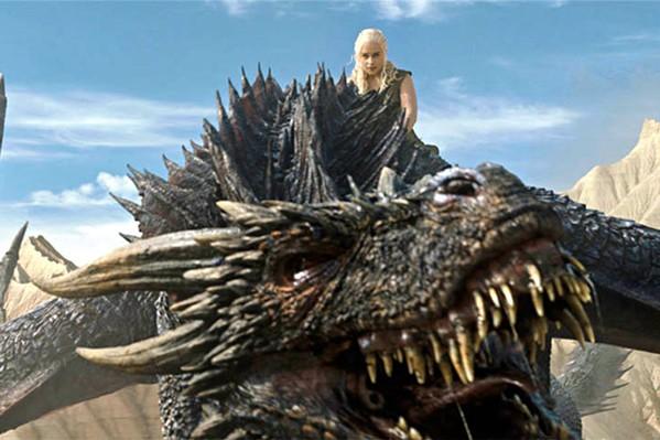 Daenerys Targarian (Emilia Clark) rides into battle on Drogon.