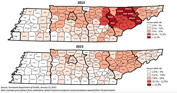 This graphic shows the amount of the population that uses high doses of opioids on a daily basis. - TENNESSEE DEPARTMENT OF HEALTH