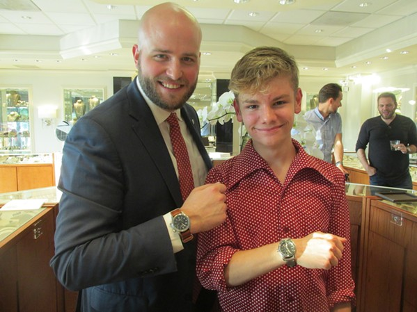 Toney Walsh from Mednikow Jewelers and chef Logan Guleff sport Bremont watches at a reception at Mednikow Jewelers. - MICHAEL DONAHUE