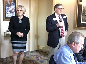 Rep. Black waits for chance to speak to GOP breakfasters as John Ryder introduces her. - JB