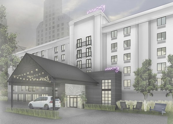 Moxy Memphis Downtown faces west in this artist's rendering of the new design. - SUMMIT MANAGEMENT CORP.