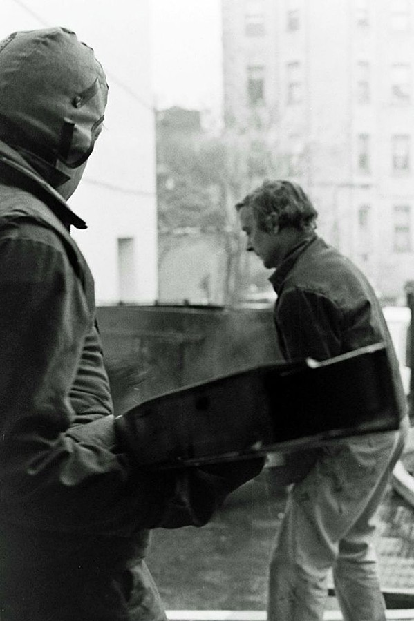 Ed Perry and Rockne Krebs unload one of their urban-scale installations - COURTESY OF ROCKNE KREBS ESTATE