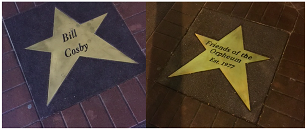 "Cosby's star (left) has been replaced with a ""Friends of the Orpheum"" star (right)."