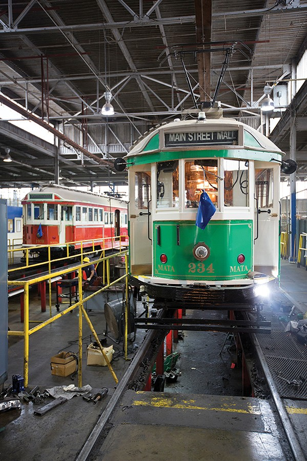 South Main trolleys under repair - JUSTIN FOX BURKS