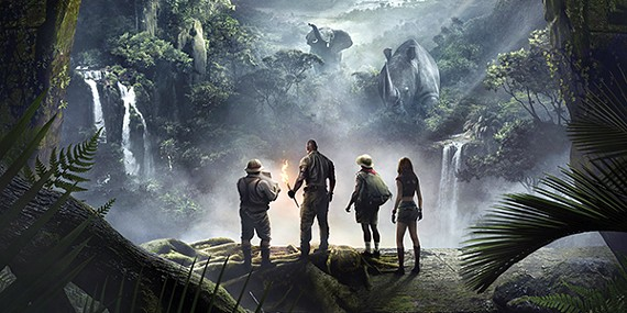 "(from l to r) Jack Black, Dwayne ""The Rock"" Johnson, Kevin Hart, and Karen Gillian star in Jumanji: Welcome to the Jungle."