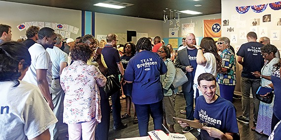 The crowd at Bredesen headquarters in the Highland Strip