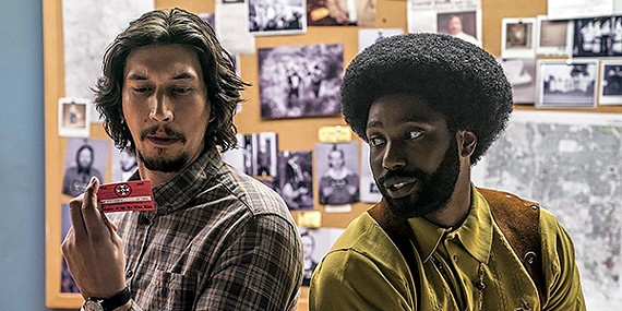 Adam Driver (left) and John David Washington in Spike Lee's powerful BlacKkKlansman.