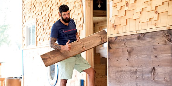 Joe Everson shows off custom shiplap walls and cedar shingles