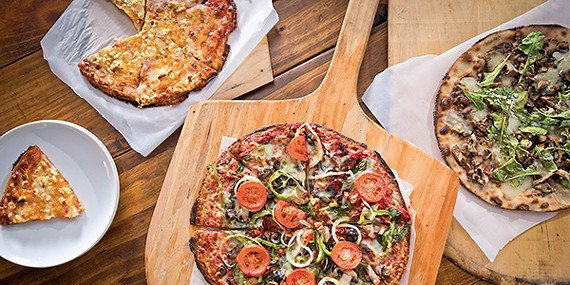 (left to right) Ultimate Cheese from Memphis Pizza Cafe, the Mega Veggie from Mellow Mushroom, and  'Shrooms from Hog & Hominy