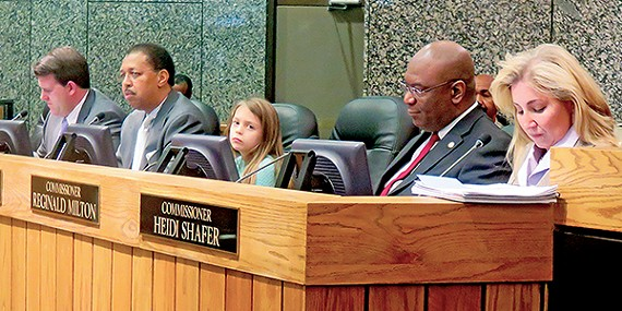 Where's Zoey? Can't say where Waldo is, but that's Zoey Goss sitting up there (briefly) in place of County Commissioner Mark Billingsley, who with other commissioners voted Monday to contribute $8,000 to a summer camp for Zoey and other children suffering from muscular dystrophy.
