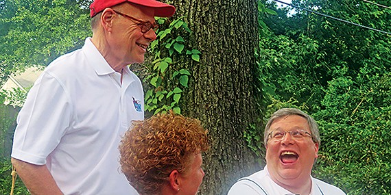 9th District congressman Steve Cohen gets a laugh out of Fire Director Gina Sweat and Mayor Jim Strickland at the annual Memorial Day weekend bratfest sonsored by Steve Steffens and Jon Carroll