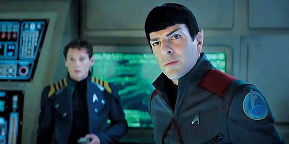 Anton Yelchin (left) as Chekov and Zachary Quinto as Spock in Star Trek Beyond