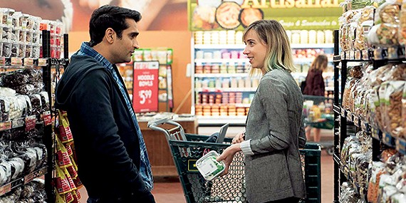 Kumail Nanjiani (left) and Zoe Kazan star in The Big Sick, a rom-com based on Nanjiani's marriage to Emily V. Gordon.