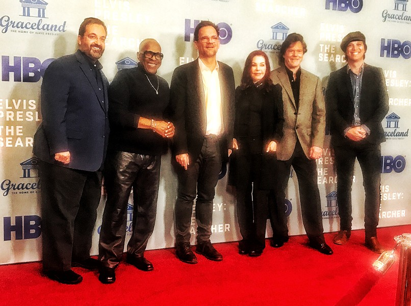 "On the red carpet at the screening of HBO's ""Elvis Presley: The Searcher"" (from left): producer Kary Antholis, music producer David Porter, director Thom Zimny, executive producers Priscilla Presley and Jerry Schilling, and Sony music executive John Jackson. - JON SPARKS"