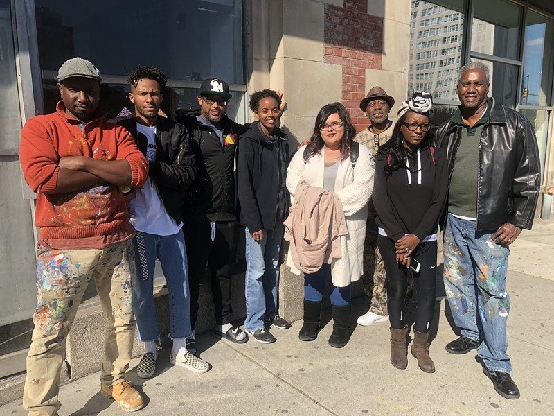 The seven Memphis artists with Willis Humphrey, a staff artist with MuralArts Philadelphia - URBANARTS COMMISSION