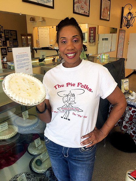 Going bananas in the bakery — The Pie Folks' Audrey Anderson shows off her instant banana cream pie. - MICHAEL DONAHUE