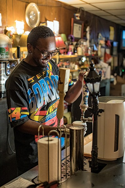 Thomas pours a PBR - PHOTOGRAPHS BY JUSTIN FOX BURKS
