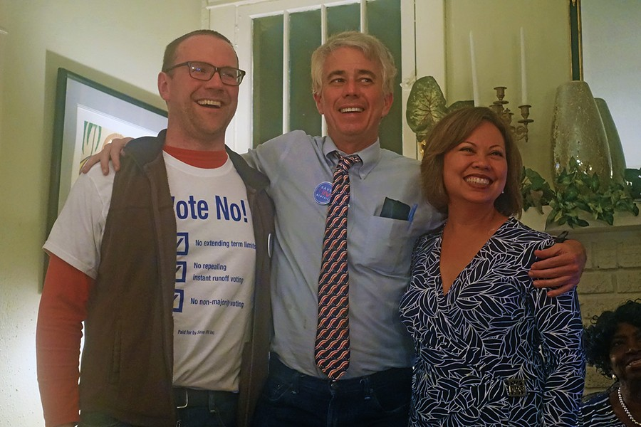 The thrill of victory was experienced by (l to r) Aaron Fowles, Steve Mulroy, and Racquel Collins, opponents of the losing referendum to repeal Instranr Runoff Voting. - JB