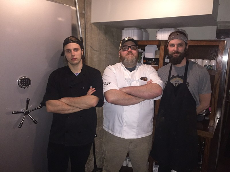 Zane Wilson, Aaron Winters and Zane Wilson in the kitchen at The Vault - MICHAEL DONAHUE