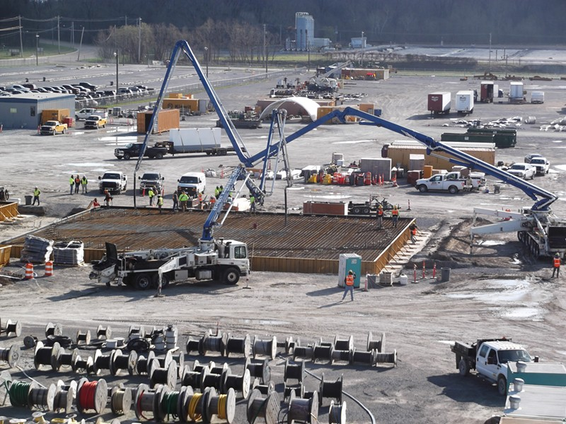 Crews work to build pads for two, 2.5 million-gallon water tanks to be built on the site of TVA's new Allen Combined Cycle power plant here. - TVA