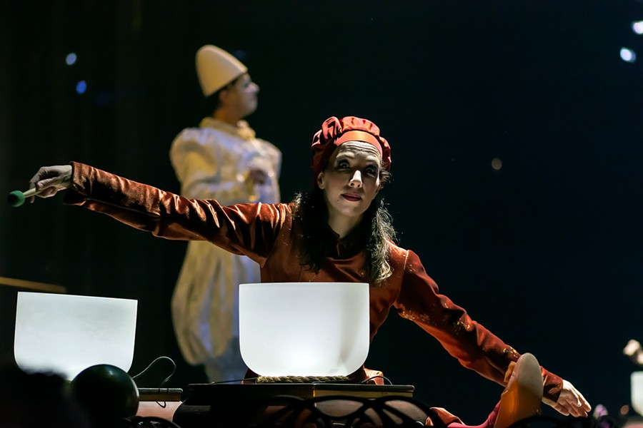 Mozart meets Tibetan bowls in a scene from  Corteo