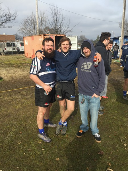 Joe Temple, Spencer Hansen and Colby McKinney were at the Memphis Blues Rugby Club season opener. - MICHAEL DONAHUE